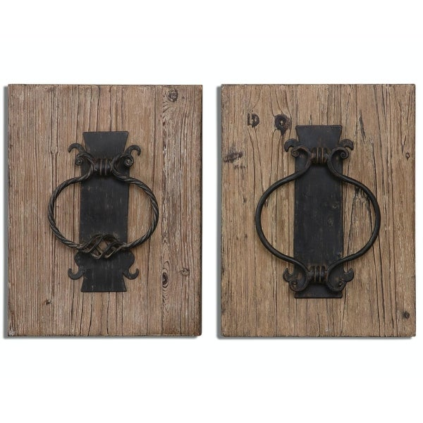 Set Of 2 Country Rustic Fir Wood Wall Art Plaques With Metal Replica Door Knockers