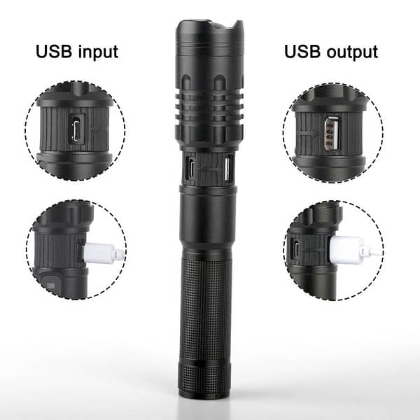 LED Flashlight Rechargeable Zoom Torch Light Powerful 5 X5MM LED 20W 5V Micro