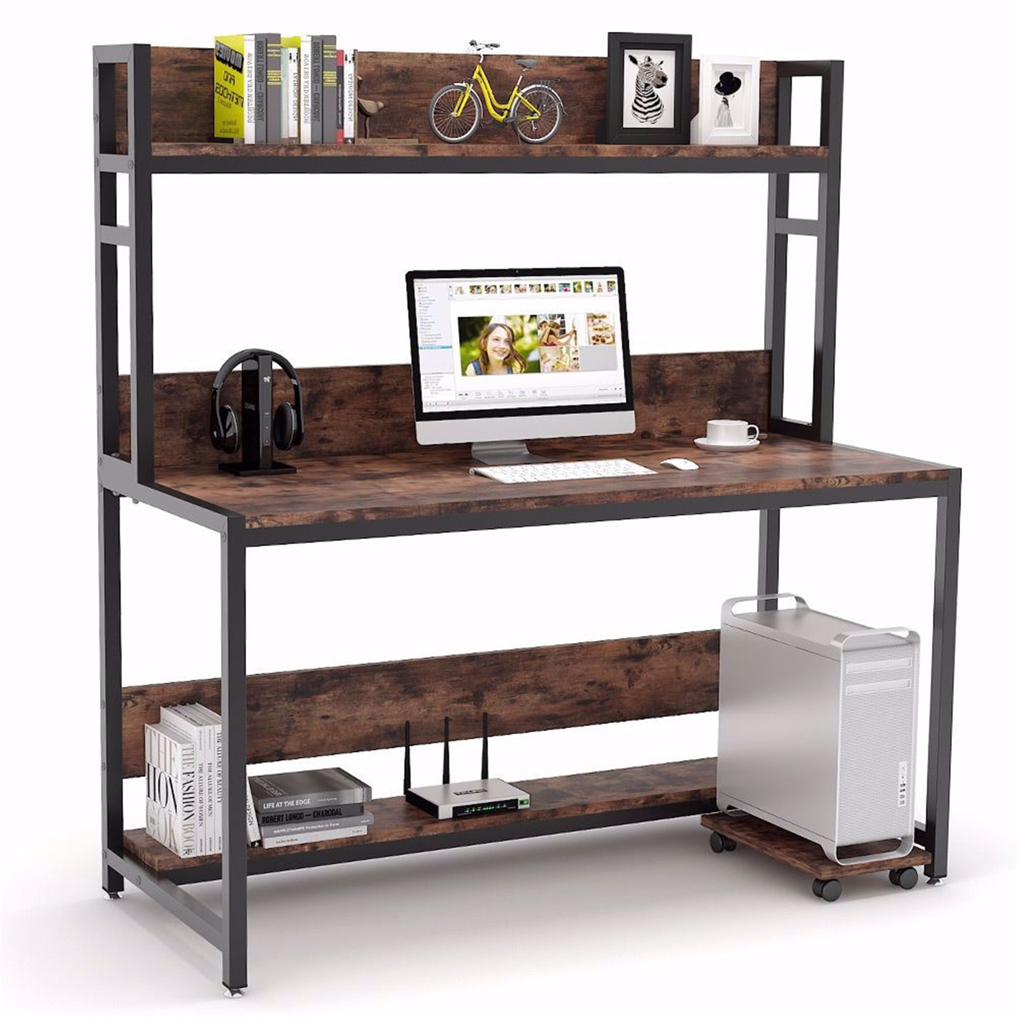 55 Inches Large Computer Desk With Hutch Overstock 31311798 White