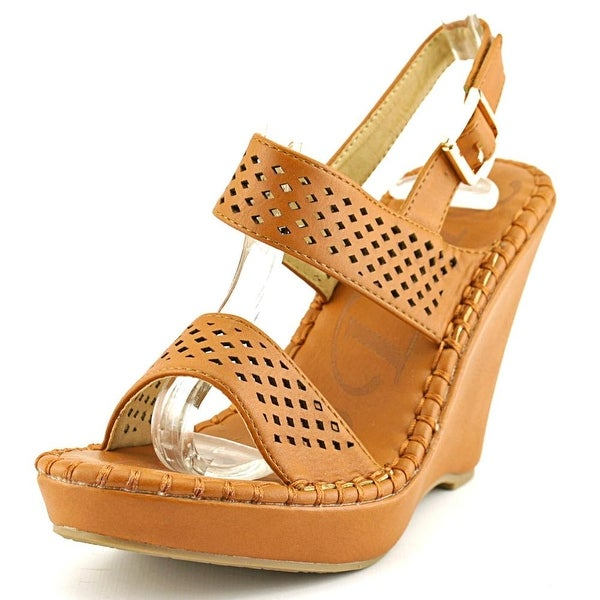 DbDk Fashion Meira-1 Women Open Toe Leather Tan Wedge Sandal