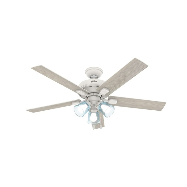 """Hunter 52"""" Whittier Ceiling Fan with LED Light and Pull Chain - Matte White. Opens flyout."""