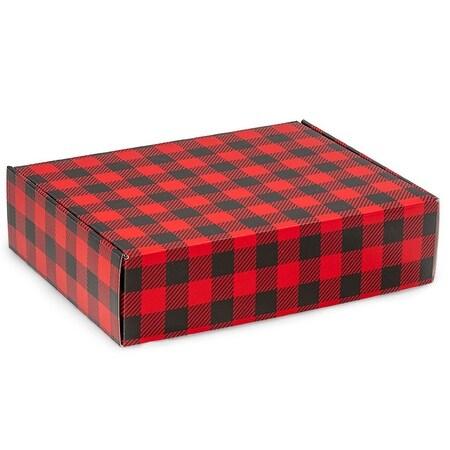 "Pack Of 6, 12 X 9 X 3"" Christmas Buffalo Plaid Gourmet Auto Lock Shipping Box 1-Piece W/Fold-Over Lid"