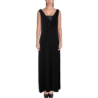 Calvin Klein Womens Evening Dress Embellished Double Cowl