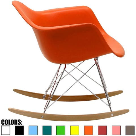 Orange Natural Wood Metal Wire Plastic Rocker Chair Rocking Lounge Bedroom Living Room With Arms Back Nursery Accent