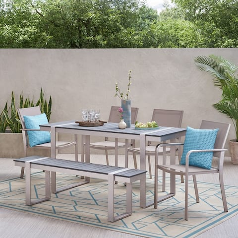 Otero Outdoor Aluminum Outdoor 6 Piece Dining Set by Christopher Knight Home