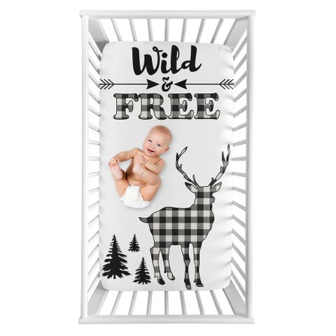 Black White Woodland Deer Collection Boy Photo Op Fitted Crib Sheet - Buffalo Plaid Check Rustic Country Farmhouse Lumberjack