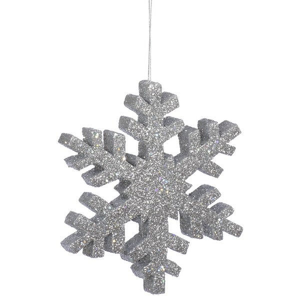 "12"" Silver Outdoor Glitter Snowflake"
