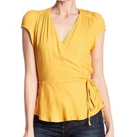 Love Fire Deep Yellow Womens Size XL Pleated Faux-Wrap Blouse