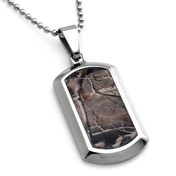 Stainless Steel Forest Tree Camouflage Dog Tag Pendant - 24 inches