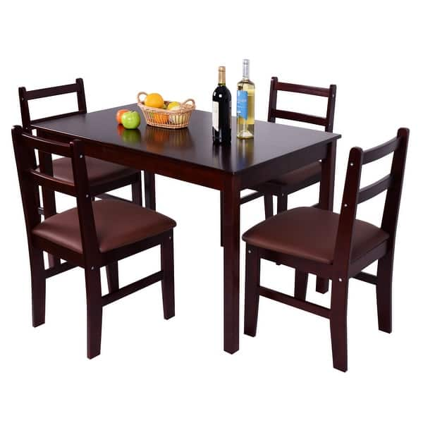 Shop Black Friday Deals On Costway 5 Pcs Pine Wood Dining Table Set 4 Upholstered Chair Breakfast Kitchen Furniture - Reddish Brown - Overstock - 17749062