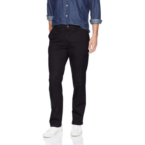 Essentials Men's Straight-Fit Casual Stretch Khaki, Black, 42W x 30L - 42W x 30L