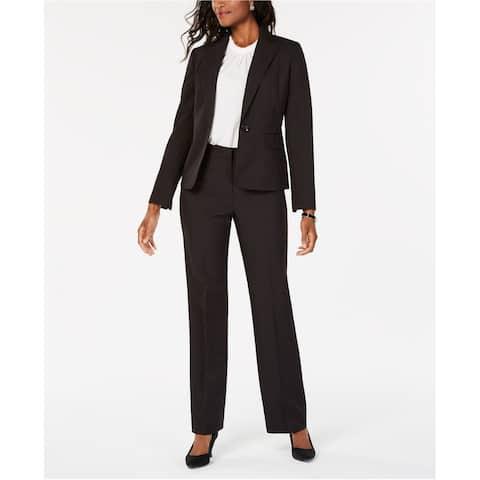 Le Suit Womens Pinstripe One Button Blazer Jacket, Black, 8