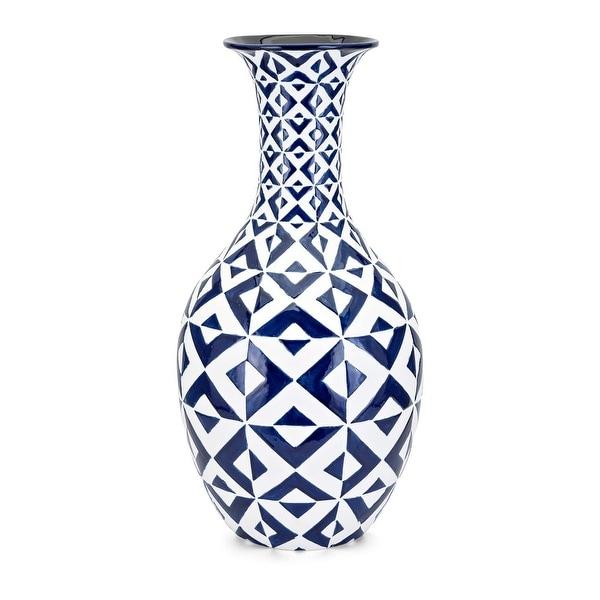 Shop 285 White And Glaze Dark Blue Patterns Decorative Jar Shaped
