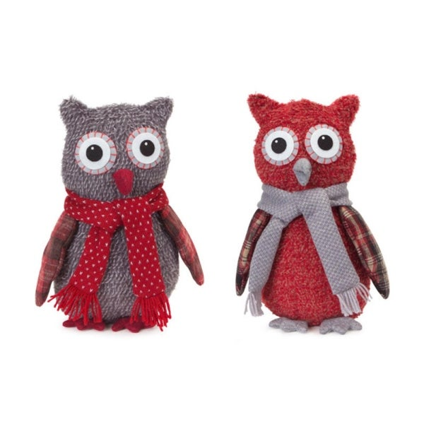 Set of 4 Gray and Red Owl with Scarf Tabletop Figurines 12""