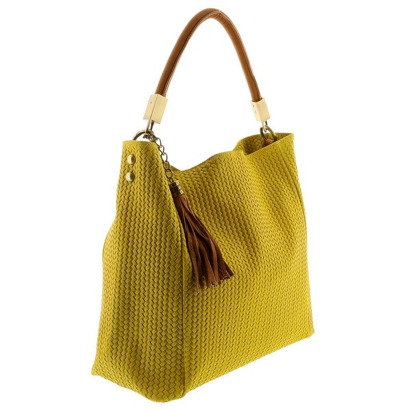 HS2070 GL GRAZIA Yellow Leather Hobo Shoulder  Bag - 14.5-13.5-5.75