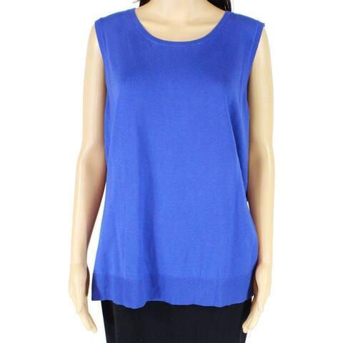 Emaline Women's Sweater Blue Size 1X Plus Vest Sleeveless Scoop Neck 045