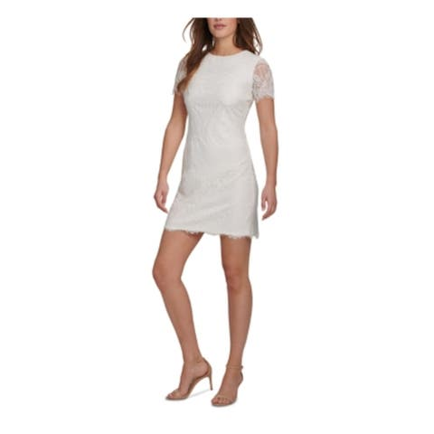 KENSIE Womens White Short Sleeve Short Sheath Cocktail Dress Size 10