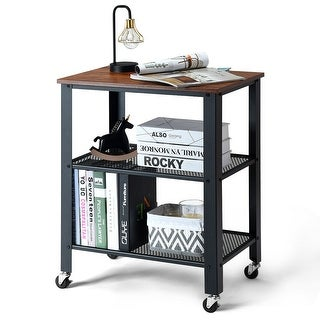 Gymax Industrial Serving Cart 3-Tier Kitchen Utility Cart on Wheels w/Storage Black