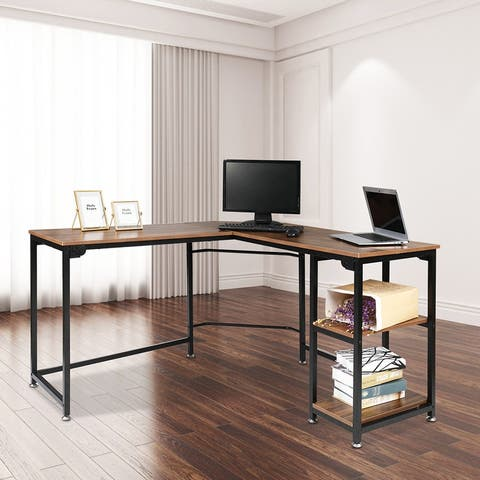 L-Shaped Computer Desk PC Table with 2 Shelves