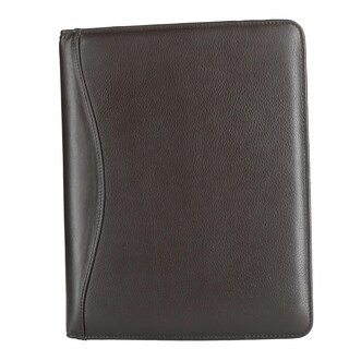 CTM® Men's Leather Padfolio with Elastic Strap Closure - One size