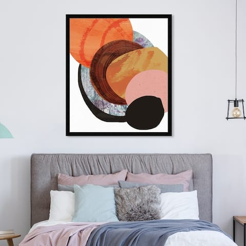 Oliver Gal 'Bonfire' Abstract Framed Wall Art Prints Paint - Orange, Brown