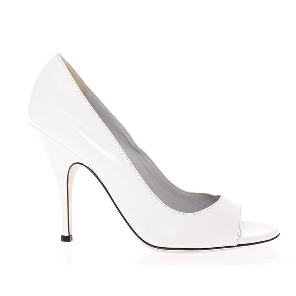 Dolce & Gabbana White Open Toe Leather Pumps Shoes - 35