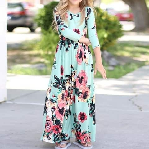 Girls Maxi Dress, Floral Flared Sewing Pocket Three-Quarter Sleeves Long Dress Size 6-12