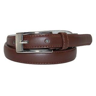 CTM® Women's Leather 3/4 Inch Skinny Dress Belt