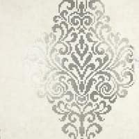 Brewster 2542-20749 Lux Silver Foil Damask Wallpaper - N/A