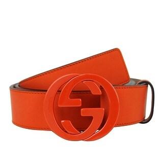 Gucci Men's Orange Leather Interlocking G Buckle Belt 223891 7519 (110 / 44) - 110 / 44