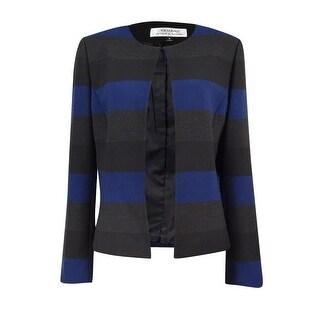 Tahari Women's Petite Striped Open-Front Blazer - royal/grey/black - 0p