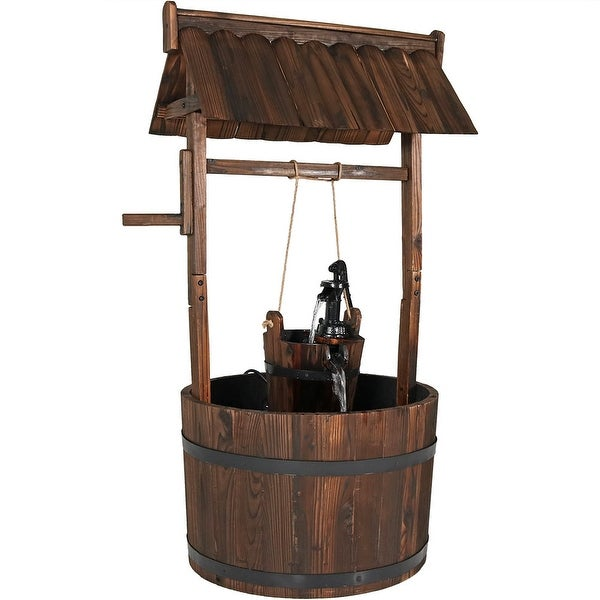 Sunnydaze Old-Fashioned Wishing Well Outdoor Water Fountain, 45 Inch Tall, Includes Electric Submersible Pump