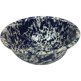 "Crow Canyon D17NVM Cereal Bowl, Navy Blue Marble, 6"" Diameter"