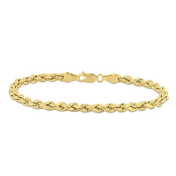 Miadora 10k Yellow Gold 7.25 Inch Rope Chain Bracelet. Opens flyout.