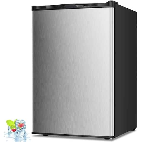3.0 Cu.ft Compact Upright Freezer with Reversible Single Door Silver
