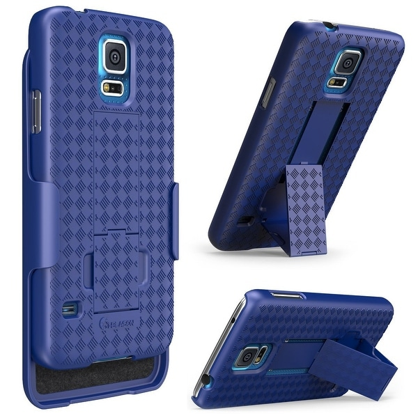 i-Blason-Samsung Galaxy S5 Case-Transformer Slim Hard Shell Holster Combo Cover-Blue