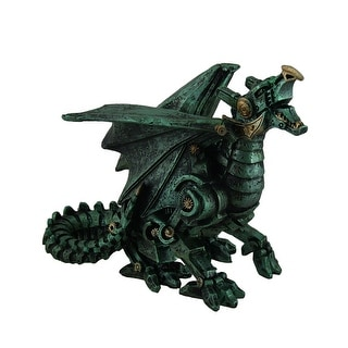 Metallic Green Finish Mechanical Steampunk Dragon Statue - 5.5 X 7 X 3.5 inches