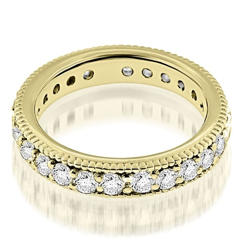 1.30 cttw. 14K Yellow Gold Vintage Style Round Cut Diamond Eternity Band Ring