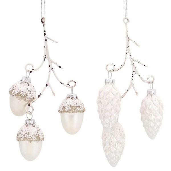 """Pack of 12 Woodland Acorn and Pine Cone Branch Glass Christmas Ornaments 8"""" - WHITE"""