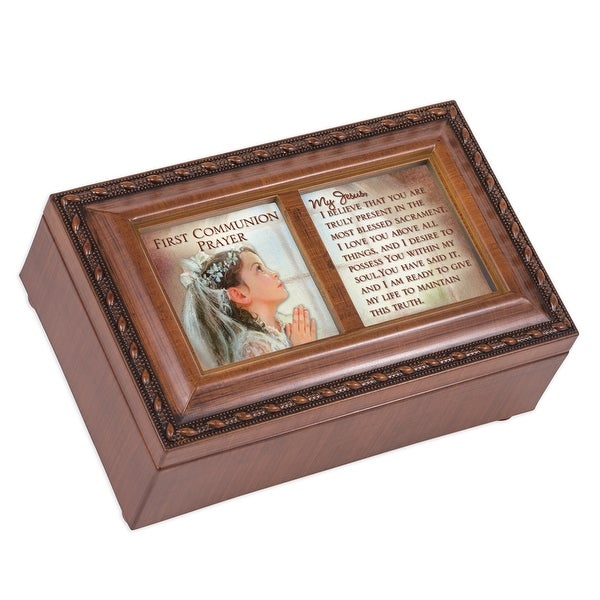 """6"""" Brown and White Traditional First Communion Girl Prayer Musical Box - N/A"""