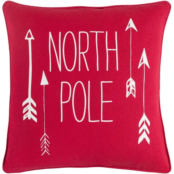 "18"" Red and White ""North Pole"" Quoted Decorative Woven Square Throw Pillow - Down Filler"