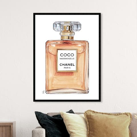 Oliver Gal 'Doll Memories -Coco Mademoiselle' Fashion and Glam Wall Art Framed Print Perfumes - Orange, White