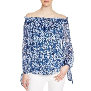 WAYF Womens Blouse Chiffon Off-The-Shoulder