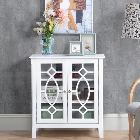 HOMCOM Wood Accent Sideboard Buffet Server Storage Cabinet with Double Framed Glass Doors, Adjustable Shelves
