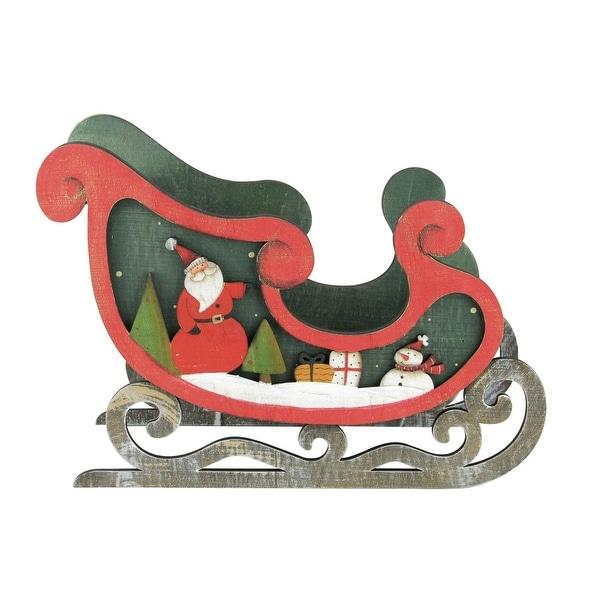 "10"" Wooden Santa Claus and Snowman Decorative Table Top Christmas Sleigh - green"