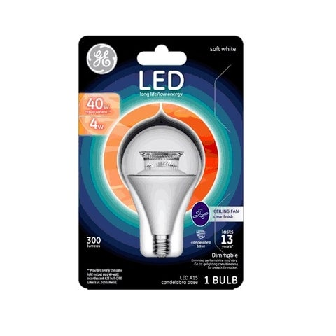 GE 63181 A15 Ceiling Fan LED Light Bulb, 4 Watts