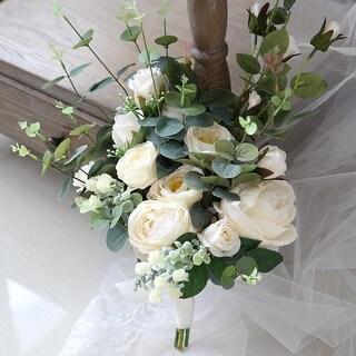 Wedding Bouquet White Rose and Eucalyptus Bridal Bouquet - Green