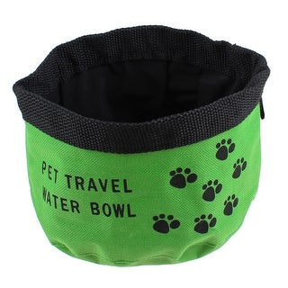 "Unique Bargains 5.5"" Diameter Travel Foldable Portable Pet Dog Cat Food Water Bowl Green"