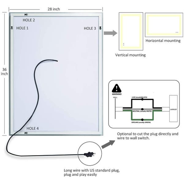 LED Bathroom Mirror,Anti Fog,36 x 28 inch,Dimmable,Slim,Waterproof  IP44,Both Vertical and Horizontal Wall Mounted Way - On Sale - Overstock -  31433074 | Bathroom Mirror Wiring Diagram |  | Overstock.com