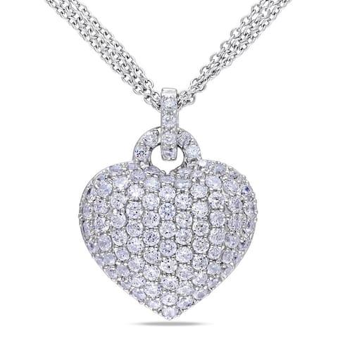 Miadora Sterling Silver Created White Sapphire Heart Necklace